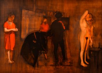 Alegorías V. (En proceso) Óleo sobre lino, 115 x 160 cm. 2017