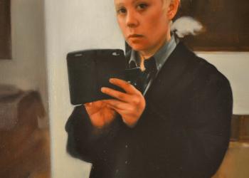 Autorretrato en el espejo. Óleo sobre lino, 60 x 40 cm. 2018