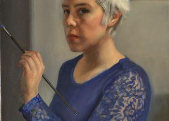 Autorretrato con vestido azul. óleo sobre lino, 60 x 45 cm. Del natural. 2018